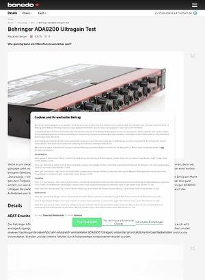 Bonedo.de Behringer ADA8200 Ultragain