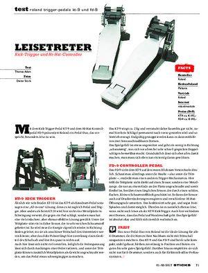 Sticks Roland Trigger-Pedale KT-9 und FD-9