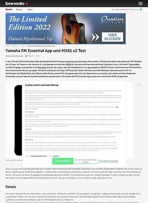 Bonedo.de Yamaha FM Essential App und MX61 v2
