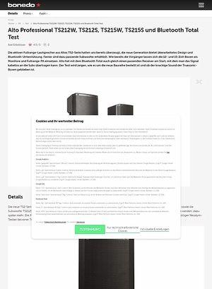 Bonedo.de Alto Professional TS212W, TS212S, TS215W, TS215S und Bluetooth Total