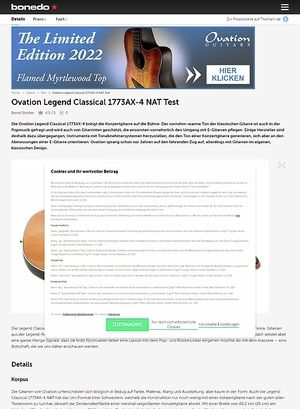 Bonedo.de Ovation Legend Classical 1773AX-4 NAT