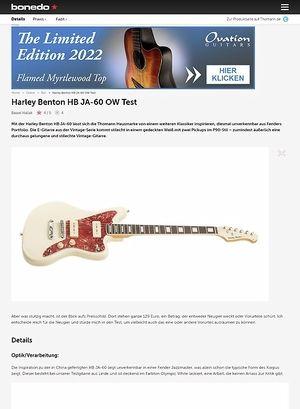 Bonedo.de Harley Benton HB JA-60 OW Test