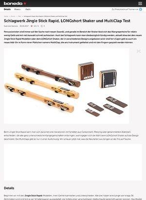 Bonedo.de Schlagwerk Jingle Stick Rapid, LONGshort Shaker und MultiClap Test