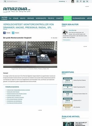 Amazona.de Vergleichstest Monitor Controller: Mackie Big Knob Passive, Radial Engineering MC3, Presonus Monitor Station V2, Drawmer MC2.1, SPL 2Control