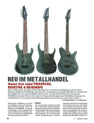 Gitarre & Bass Ibanez Iron Label FRIX6FEAH, RGIR37BE & RGIR38BFE