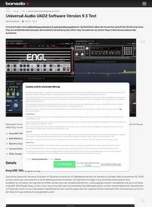 Bonedo.de Universal Audio UAD2 Software Version 9.3
