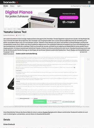 Bonedo.de Yamaha Genos Test Preview