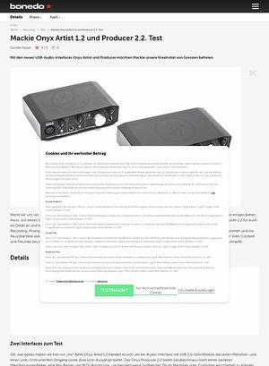 Bonedo.de Mackie Onyx Artist 1.2 und Producer 2.2.
