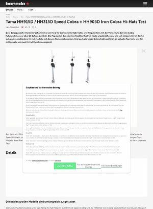 Bonedo.de Tama HH915D / HH315D Speed Cobra + HH905D Iron Cobra Hi-Hats