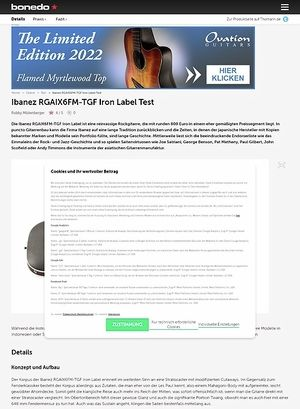 Bonedo.de Ibanez RGAIX6FM-TGF Iron Label