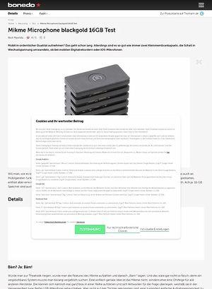 Bonedo.de Mikme Microphone blackgold 16GB
