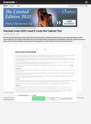 Bonedo.de Marshall Code 100H Head & Code 412 Cabinet