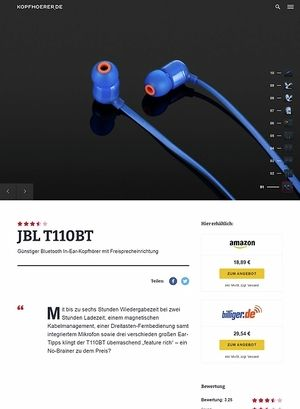 Kopfhoerer.de JBL by Harman T-110BT Blue