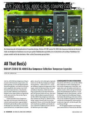 Sound & Recording UAD API 2500 & SSL 4000 G Bus Compressor Collection
