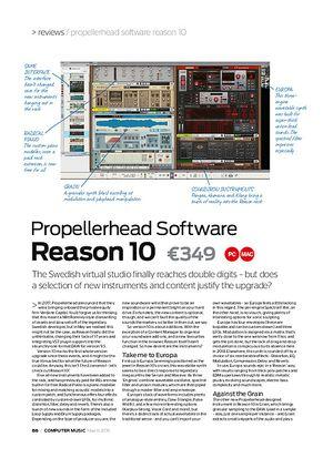 Computer Music Propellerhead Software Reason 10