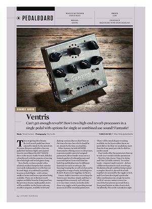 Guitarist Source Audio Ventris Dual Reverb