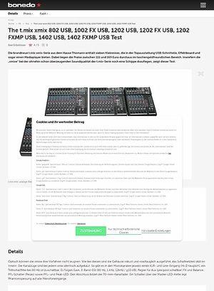 Bonedo.de The t.mix xmix 802 USB, 1002 FX USB, 1202 USB, 1202 FX USB, 1202 FXMP USB, 1402 USB, 1402 FXMP USB