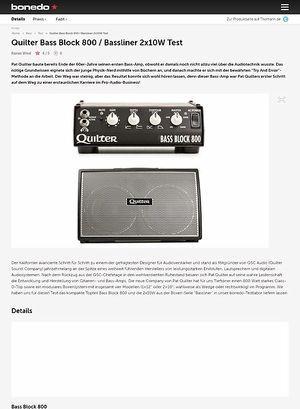 Bonedo.de Quilter Bass Block 800 / Bassliner 2x10W