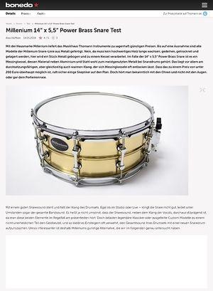 """Bonedo.de Millenium 14"""" x 5,5"""" Power Brass Snare"""