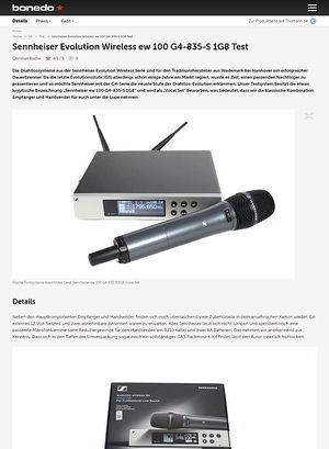Bonedo.de Sennheiser Evolution Wireless ew 100 G4-835-S 1G8