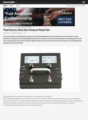 Bonedo.de Mod Devices Mod Duo Modular Pedal