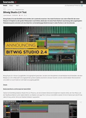 Bonedo.de Bitwig Studio 2.4