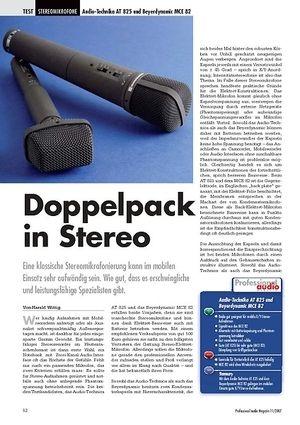 Professional Audio Doppelpack in Stereo Audio-Technika AT 825 und Beyerdynamic MCE 82