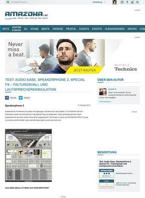 Amazona.de Test: Audio Ease, Speakerphone 2, Special FX - Faltungshall und Lautsprechersimmulation