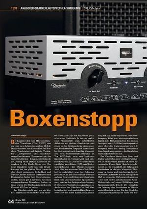 Professional Audio SPL Cabulator: Boxenstopp