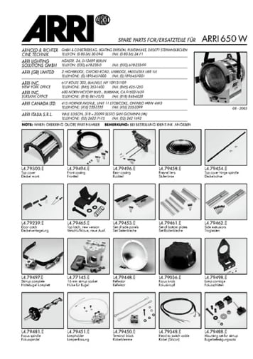 ARRI Junior 650 Replacement parts