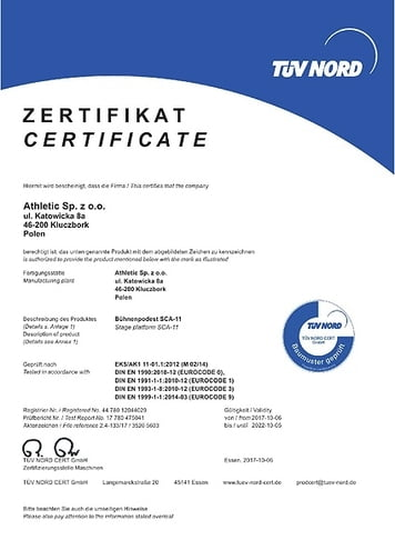 TÜV Certificate until 2022