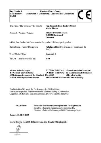 CE Declaration of Conformity / Konformitätserkläru