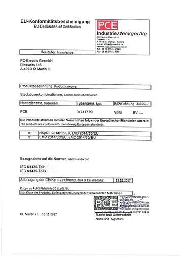 EU-Declaration of Certification / Konformitätsbe.