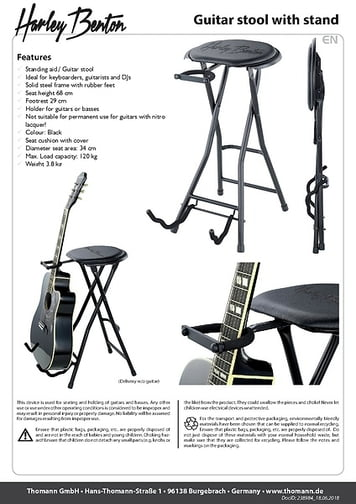 Awesome Harley Benton Guitar Stool With Stand Thomann Uk Onthecornerstone Fun Painted Chair Ideas Images Onthecornerstoneorg