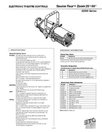 ETC Source Four Zoom 25° - 50° Specs