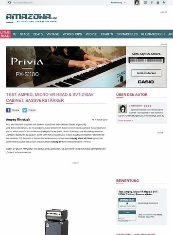 Amazona.de Test: Ampeg, Micro VR Head & SVT-210AV Cabinet, Bassverstärker