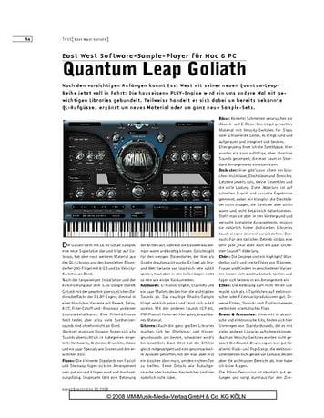 Sound & Recording Quantum Leap Goliath