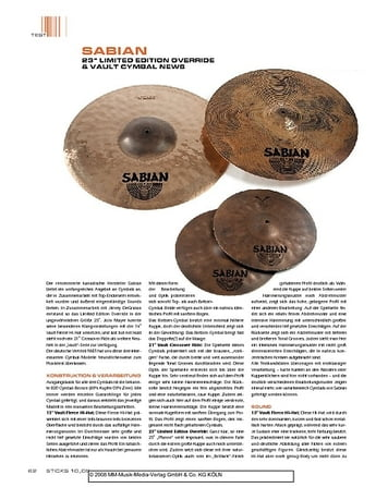 "Sticks ""Sabian 23"""" Limited Edition Override & Vault Cymbal News"""