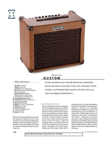 Gitarre & Bass Kustom Sienna 35, Akustik-Combo