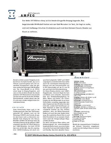 Gitarre & Bass Ampeg SVT Classic, Bass-Amp
