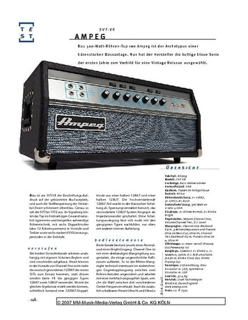 Gitarre & Bass Ampeg SVT VR, Bass-Top