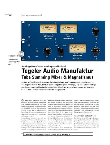Sound & Recording Tegeler Audio Manufaktur Tube Summing Mixer & Magnetismus