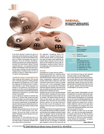 Sticks Meinl Byzance Brilliant Cymbals