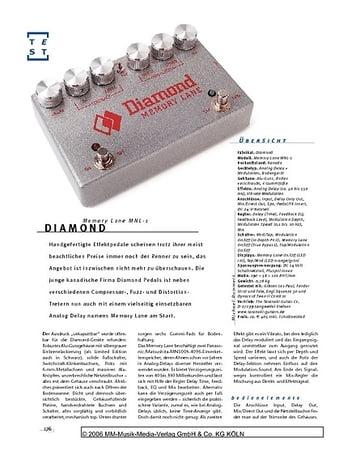 Gitarre & Bass Diamond Memory Lane MNL-1, Delay & Vibrato Bodeneffekt