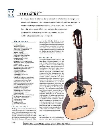 Gitarre & Bass Takamine Hirade TH90, Konzertgitarre mit Pickup-System