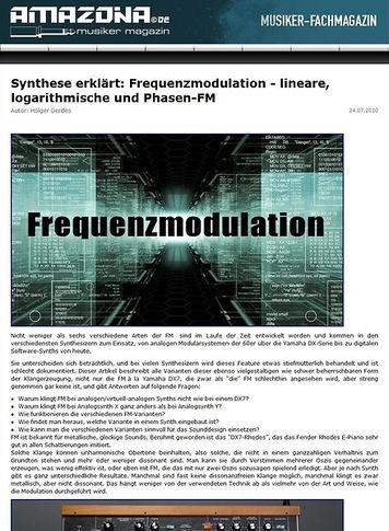 Amazona.de Workshop: Echte, wahre und richtige Frequenzmodulation - lineare, logarithmische und Phasen-FM