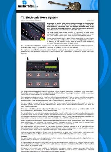 MusicRadar.com TC Electronic Nova System