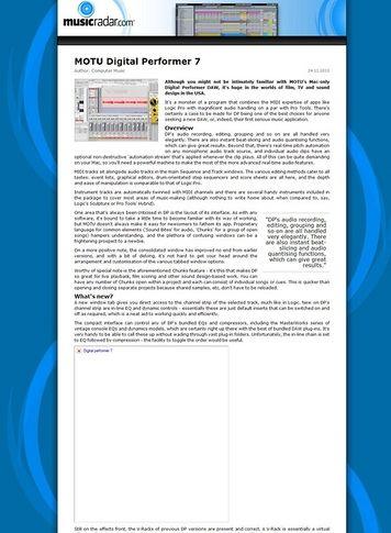 MusicRadar.com MOTU Digital Performer 7