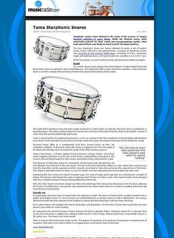 MusicRadar.com Tama Starphonic Snares