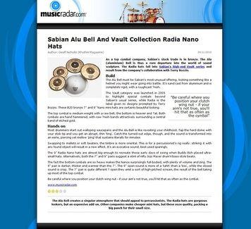 MusicRadar.com Sabian Alu Bell And Vault  Collection Radia Nano Hats